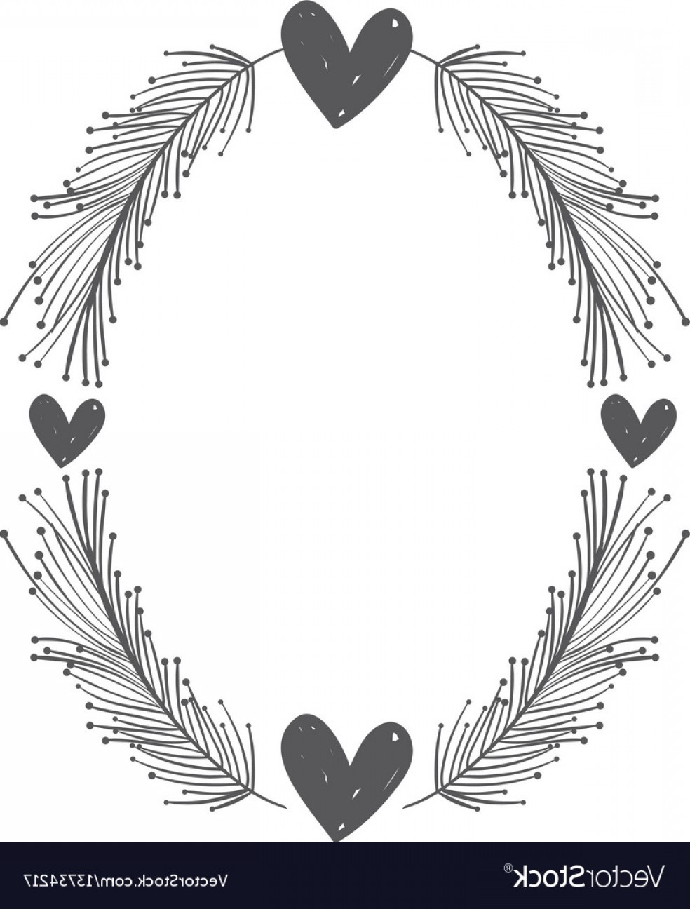 Rustic Heart Vectors: Rustic Feathers With Hearts Decoration Vector