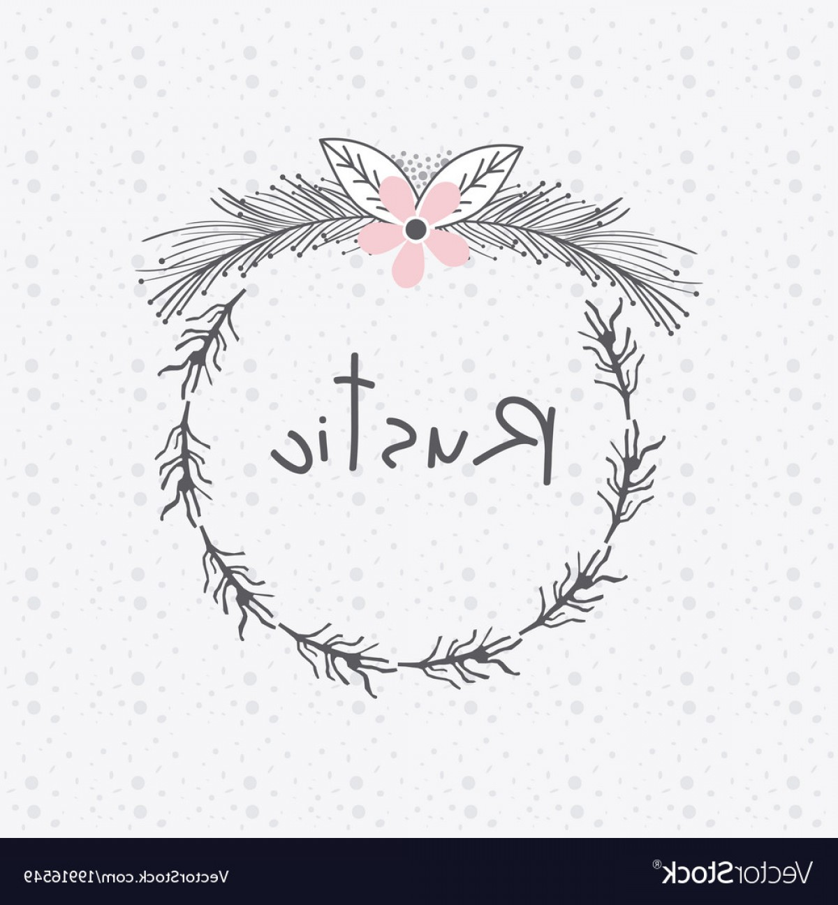 Single Vector Rustic: Rustic Floral Round Frame Hand Drawn Vector