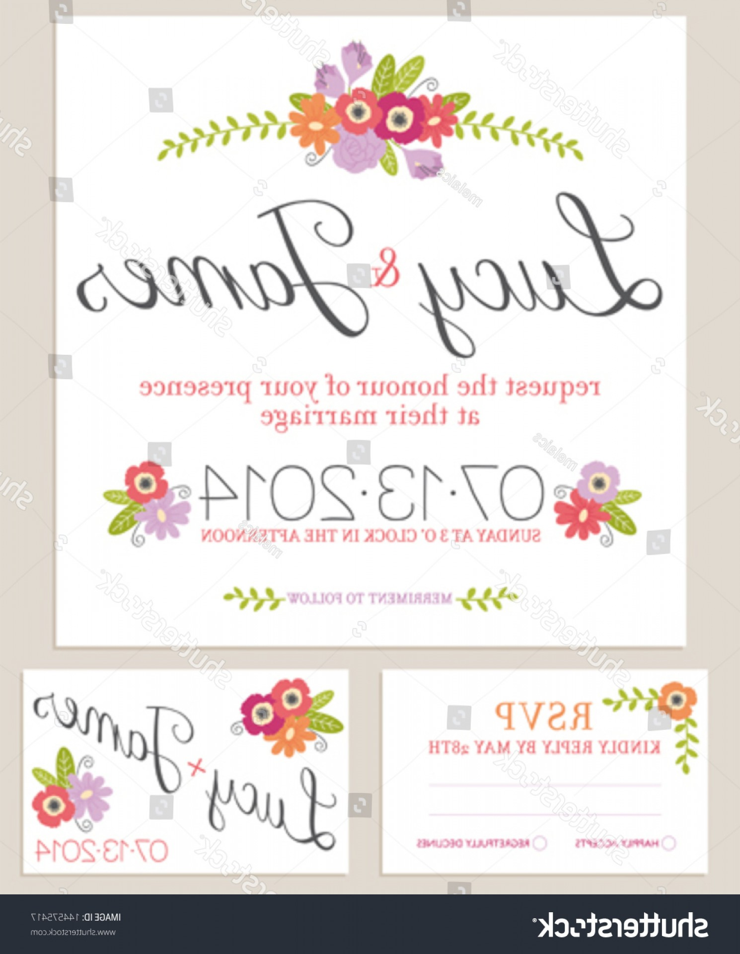 Rustic Wedding Invitation Vector: Rustic Floral Wedding Invitation Set