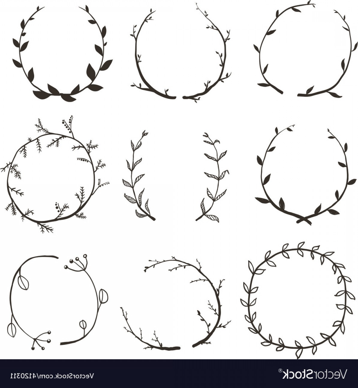 Single Vector Rustic: Rustic Laurel And Wreath Collection For Design Vector