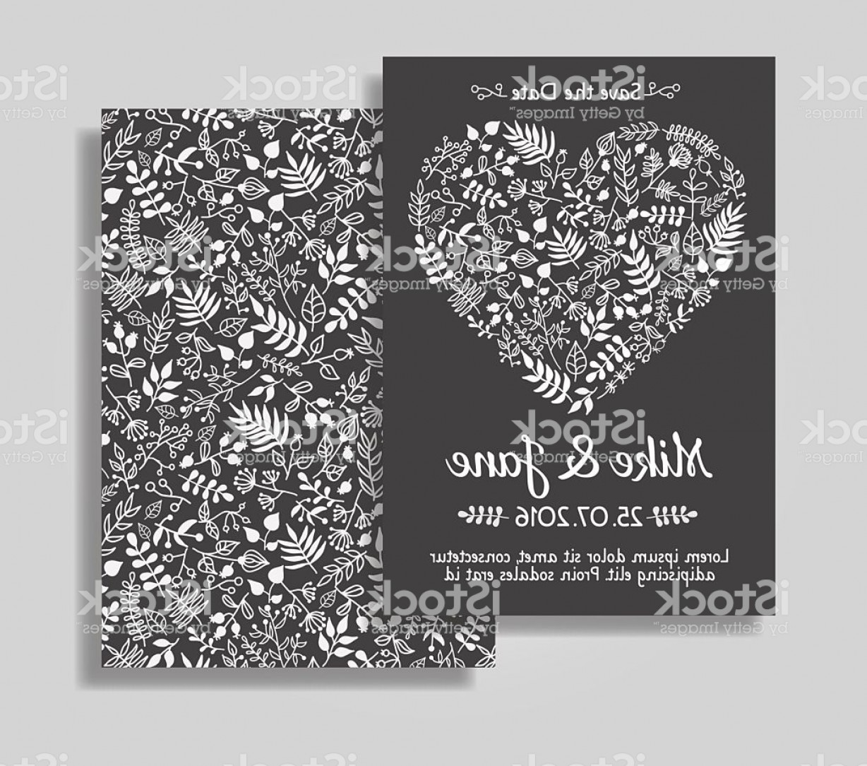 Rustic Wedding Invitation Vector: Rustic Wedding Invitation Card Set Gm