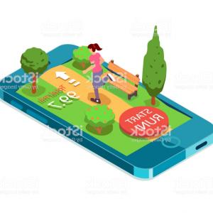 Vector Vector Running Game App: Running Woman Mobile App For Running Sport Workout Ui Applications Interface Gm