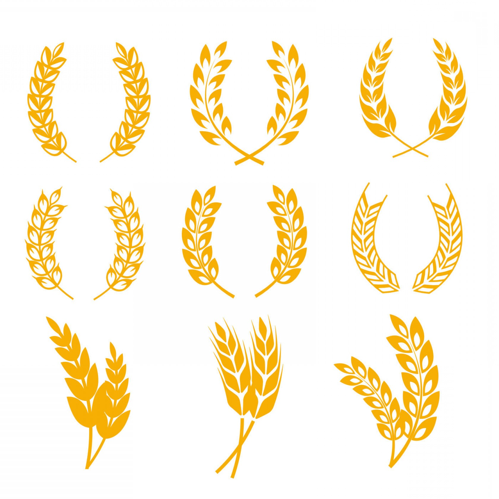 Wheat Flourishes Vector: Rye Wheat Ears Wreaths Vector Elements For Bread And Beer Labels Logo