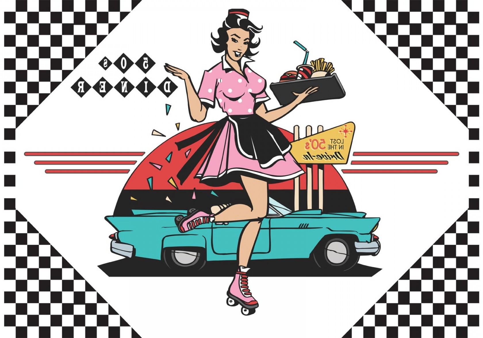 Vector S 50 Pics: S Drive In Diner Vector Ilustration