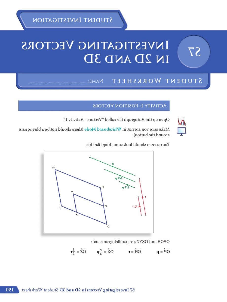 Position Vector 2D: S Investigating Vectors Student Worksheet Colour