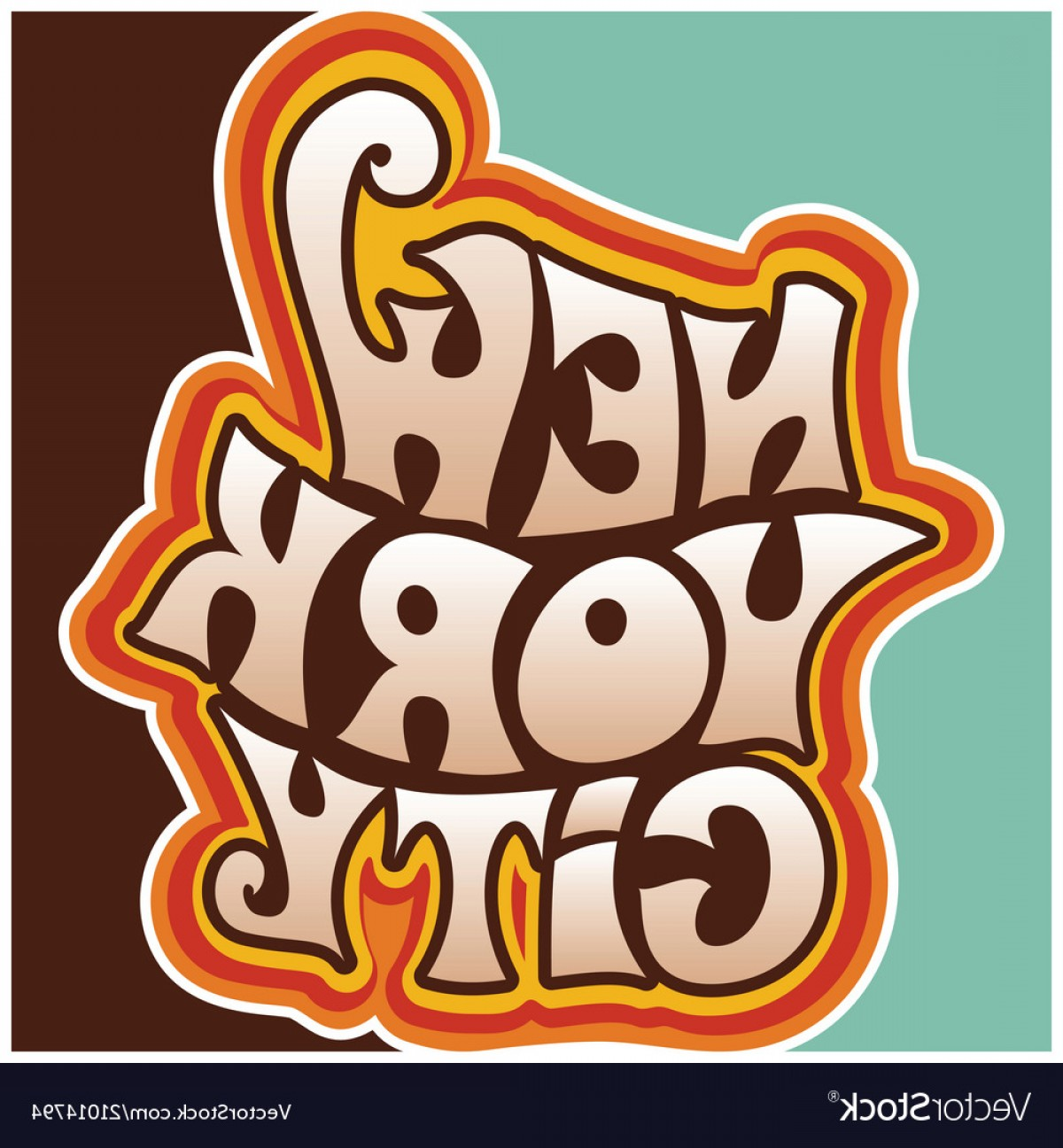 60s Vector: S S New York City Funky Lettering Vector