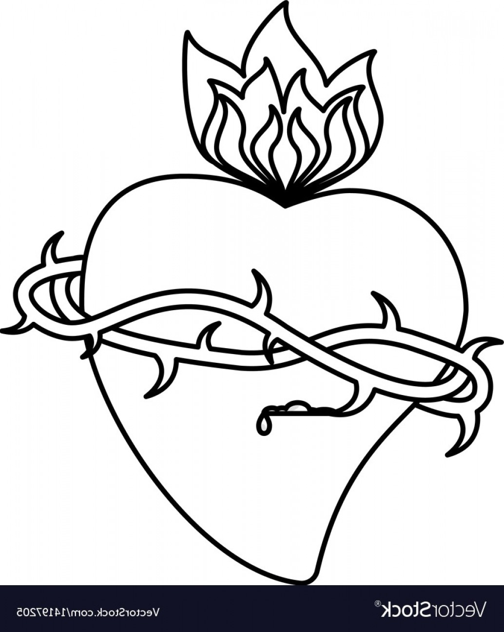 Crown White Outline Vector: Sacred Heart Crown Flame Outline Vector