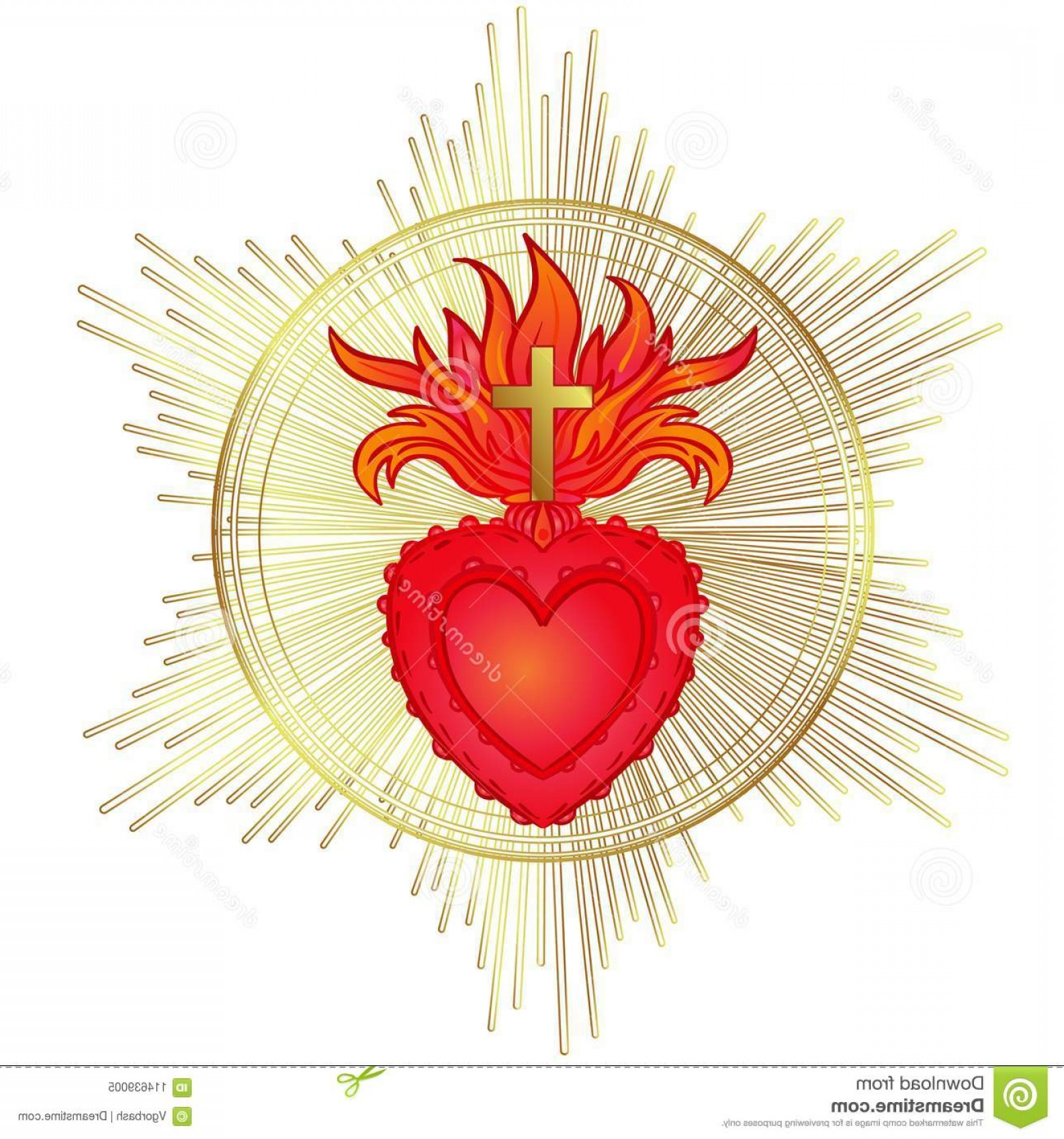 Sacred Heart Vector: Sacred Heart Jesus Rays Vector Illustration Red Gold Isolated Trendy Vintage Style Element Spirituality Religion Image