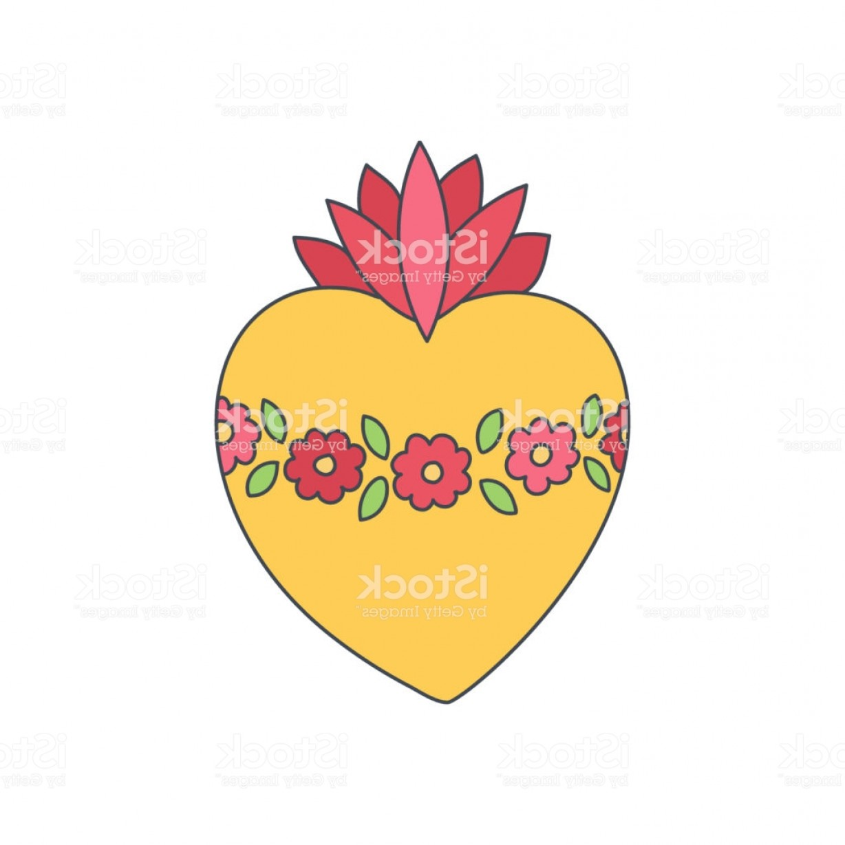 Sacred Heart Vector: Sacred Heart Of Mary Vector Doodle Icon Gm