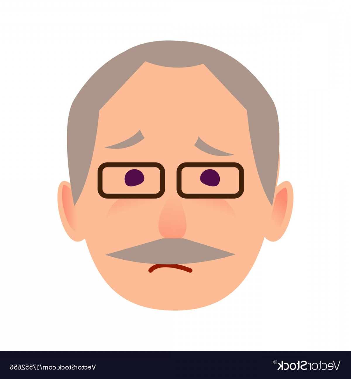 Male Face Icon Vector: Sad Old Man In Glasses Face Flat Icon Vector