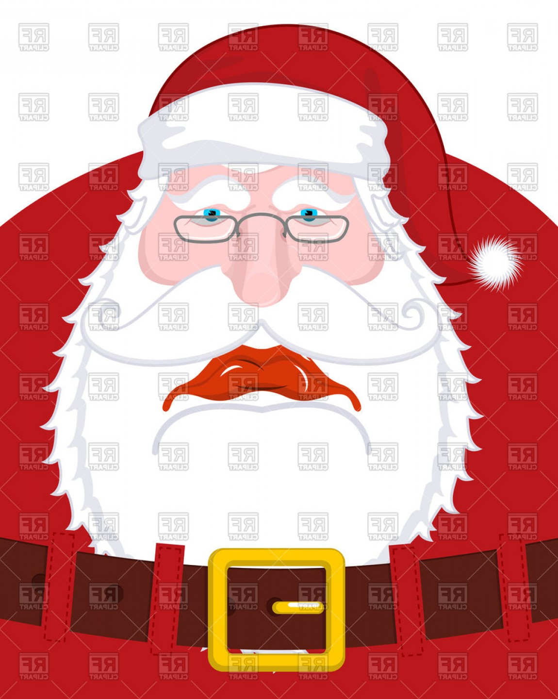 Vector Santa Belt: Sad Santa Claus In Red Costume With Belt Vector Clipart