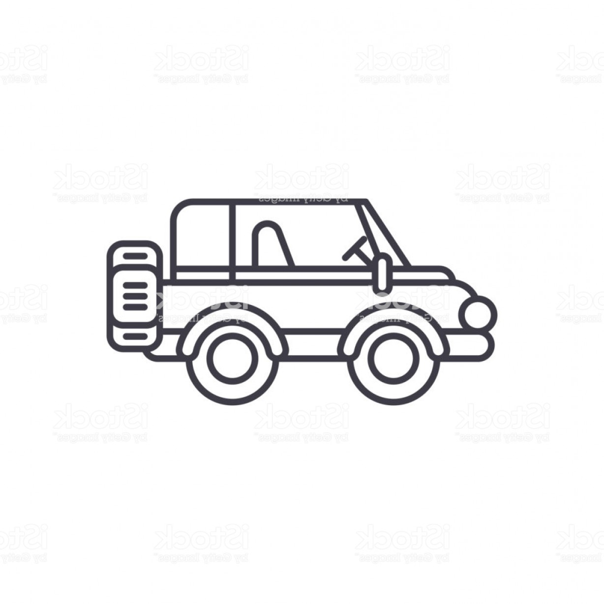 Vector Clip Art Of Jeep: Safari Jeep Line Icon Concept Safari Jeep Vector Linear Illustration Symbol Sign Gm