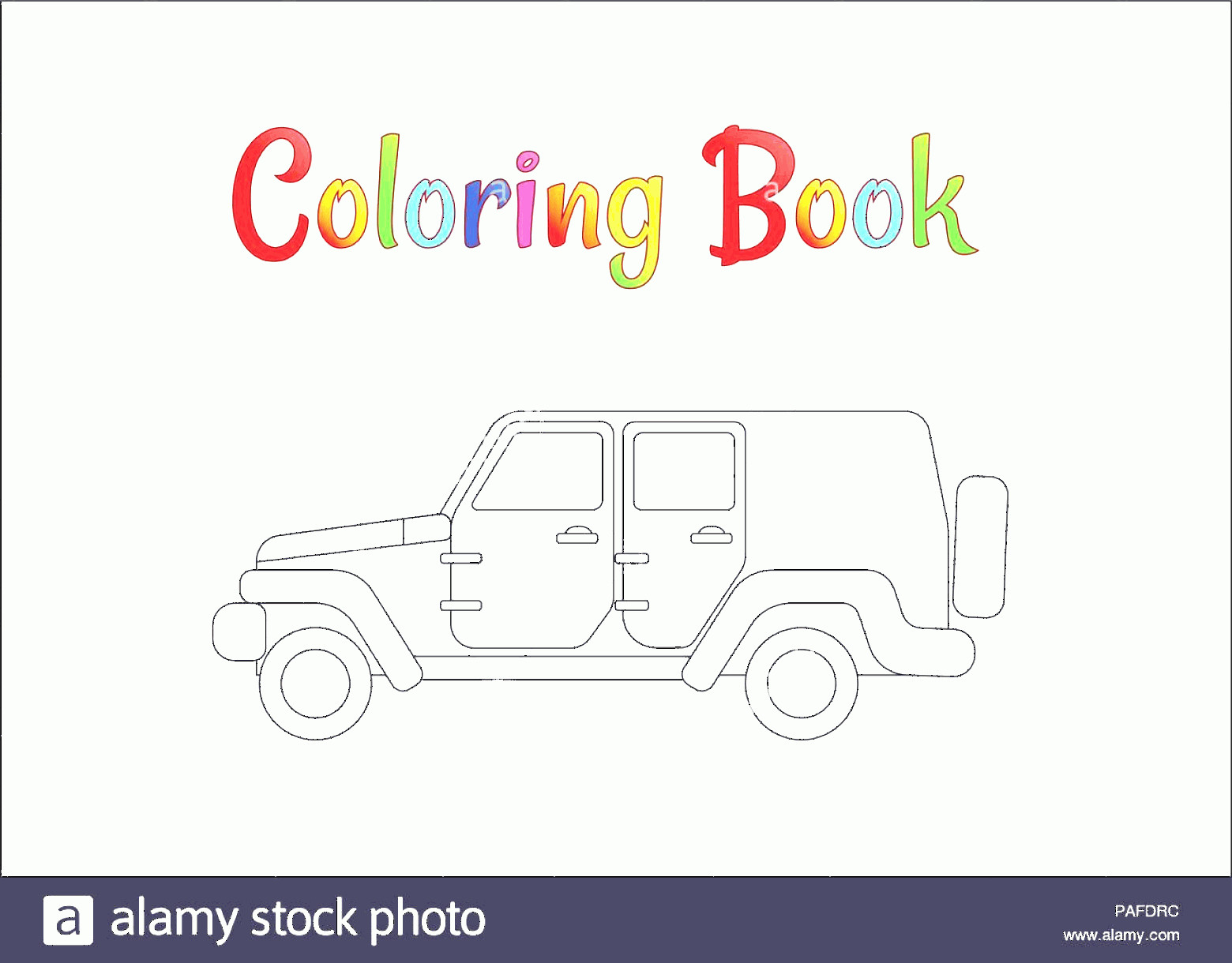 Vector Jeep JK: Safari Jeep Wrangler Coloring Pages For Kids Vector Illustration Eps Image