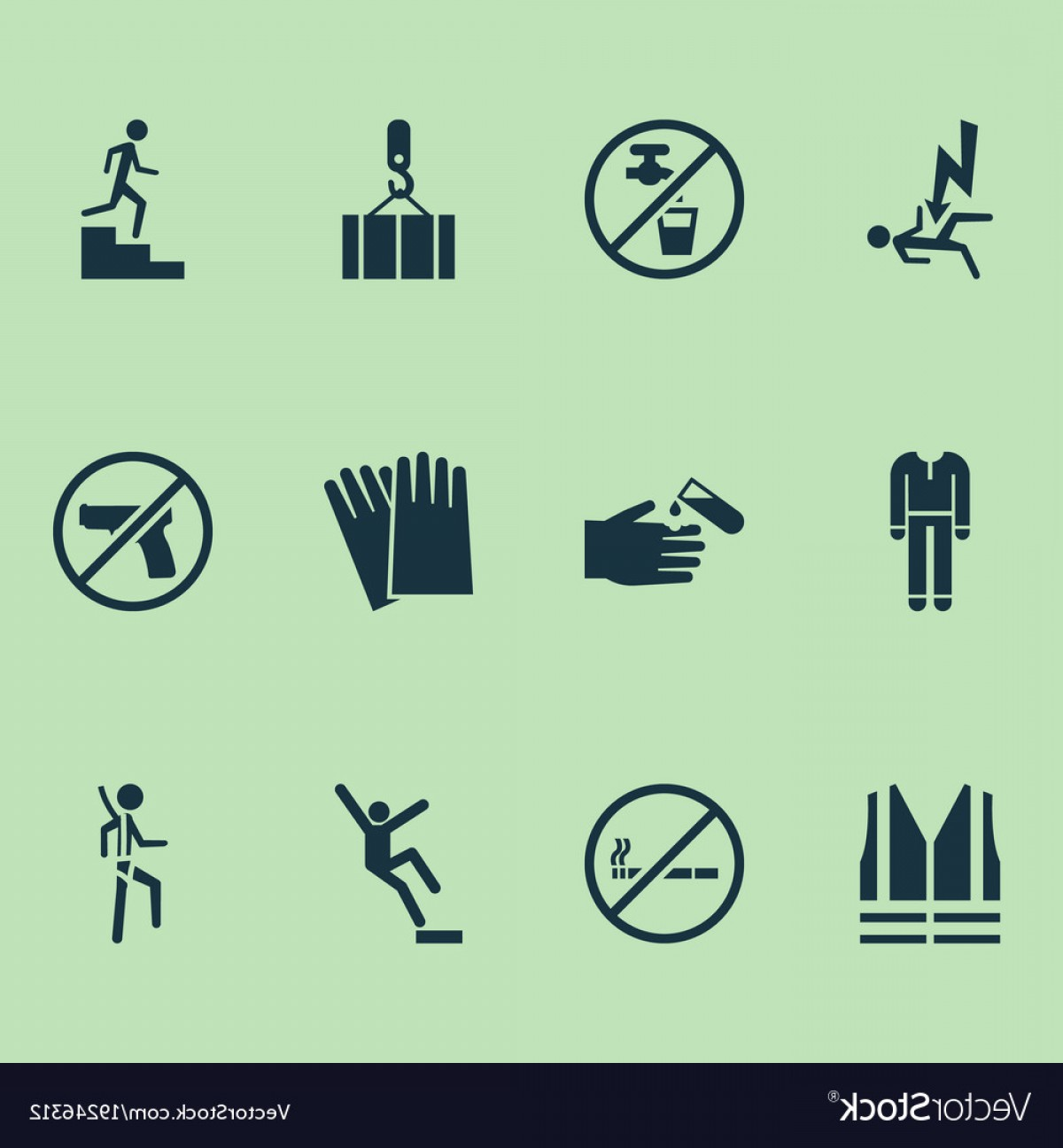 Vector Risk And Safety: Safety Icons Set With Fall Hazard No Weapon Risk Vector