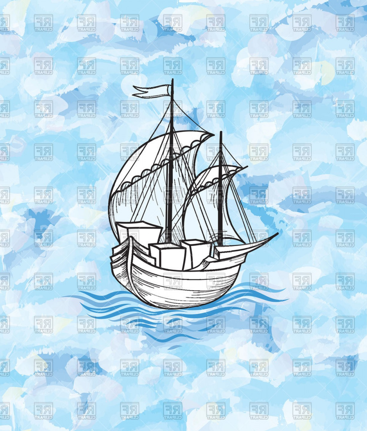 Waves With Cruise Ship Silhouette Vector: Sailing Ship Over Ocean Waves Background Vector Clipart