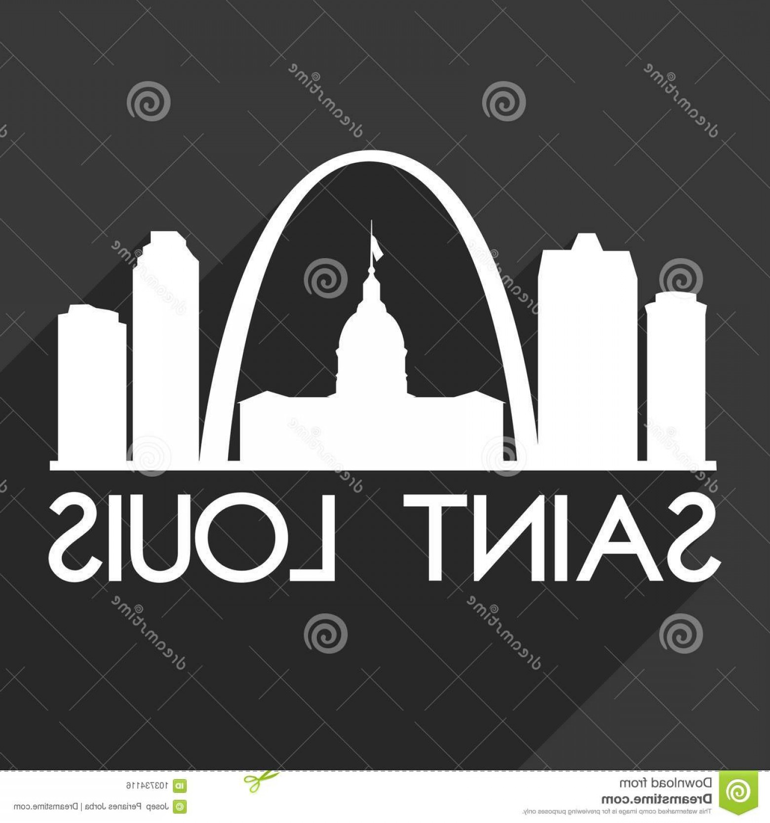 Arch Vector Illinios: Saint Louis Missouri Usa City Icon Vector Art Design Skyline Night Flat Shadow Emblematic Elements Its Black Background Image