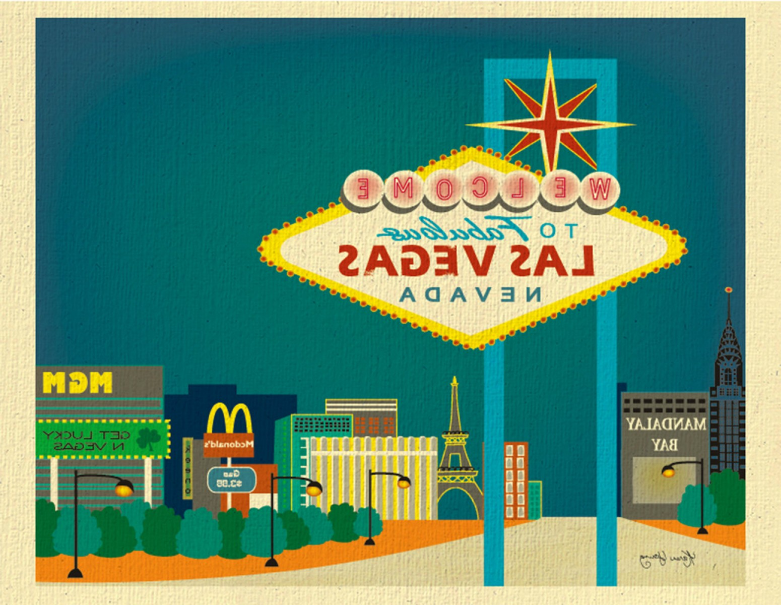 Married In Vegas Vector Art: Sale Las Vegas Skyline Art Print Las
