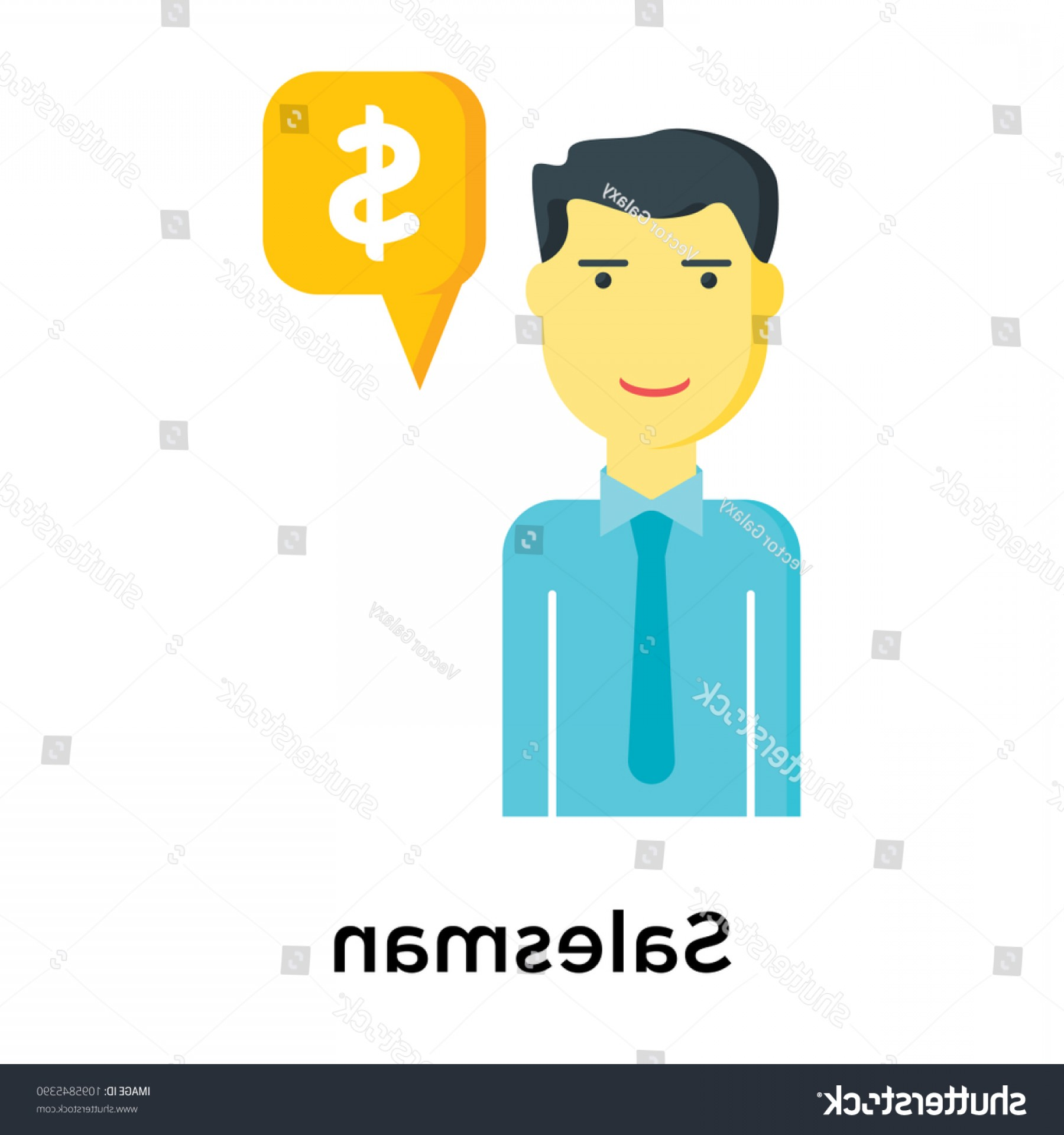 Salesman Vector: Salesman Icon Isolated On White Background