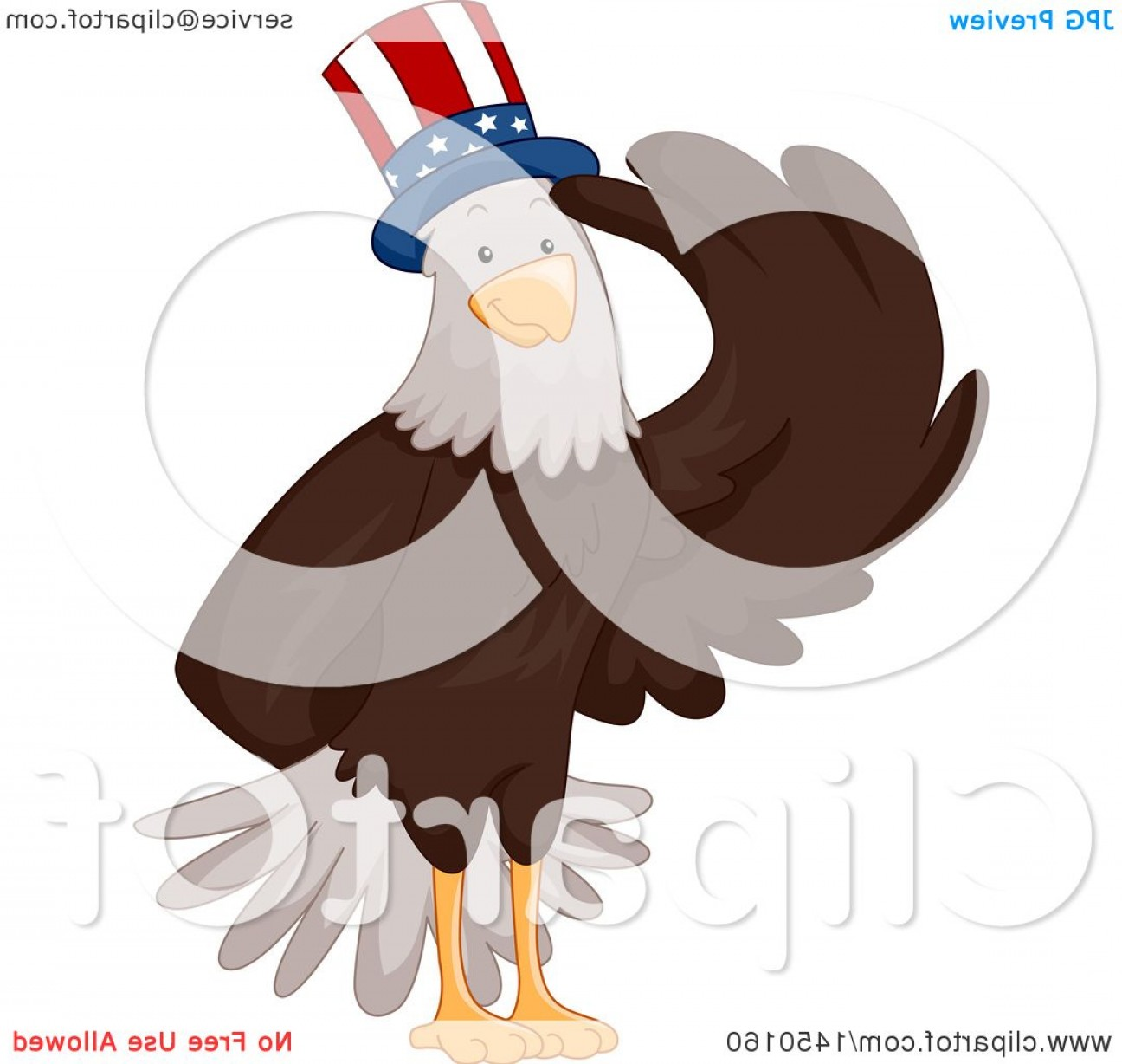 Patriotic Bald Eagle Vector: Saluting Bald Eagle Wearing A Patriotic American Hat