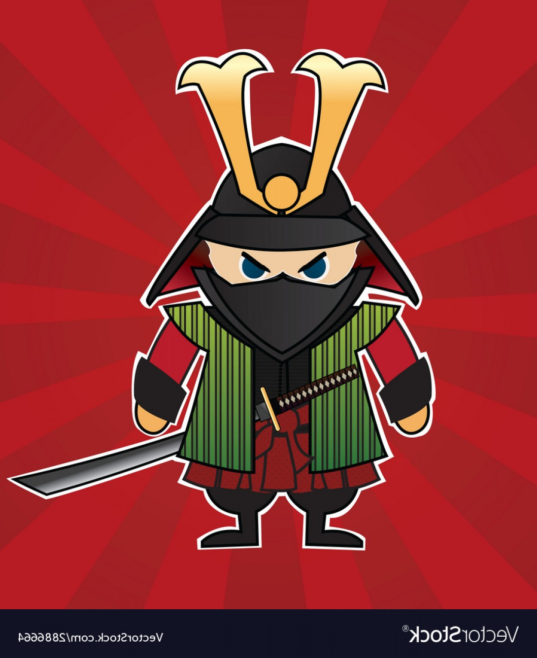 Red Samurai Vector: Samurai Cartoon On Red Sunburst Background Vector
