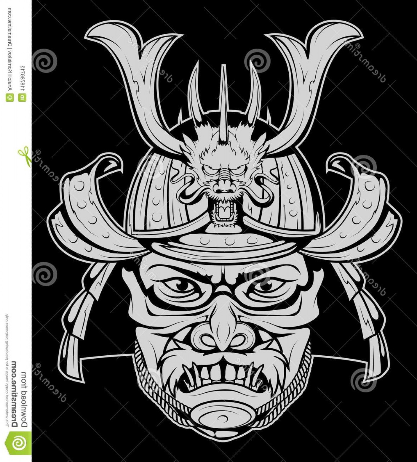 Samurai Warrior Vector: Samurai Design Mask Helmet Warrior Vector Graphics To Image
