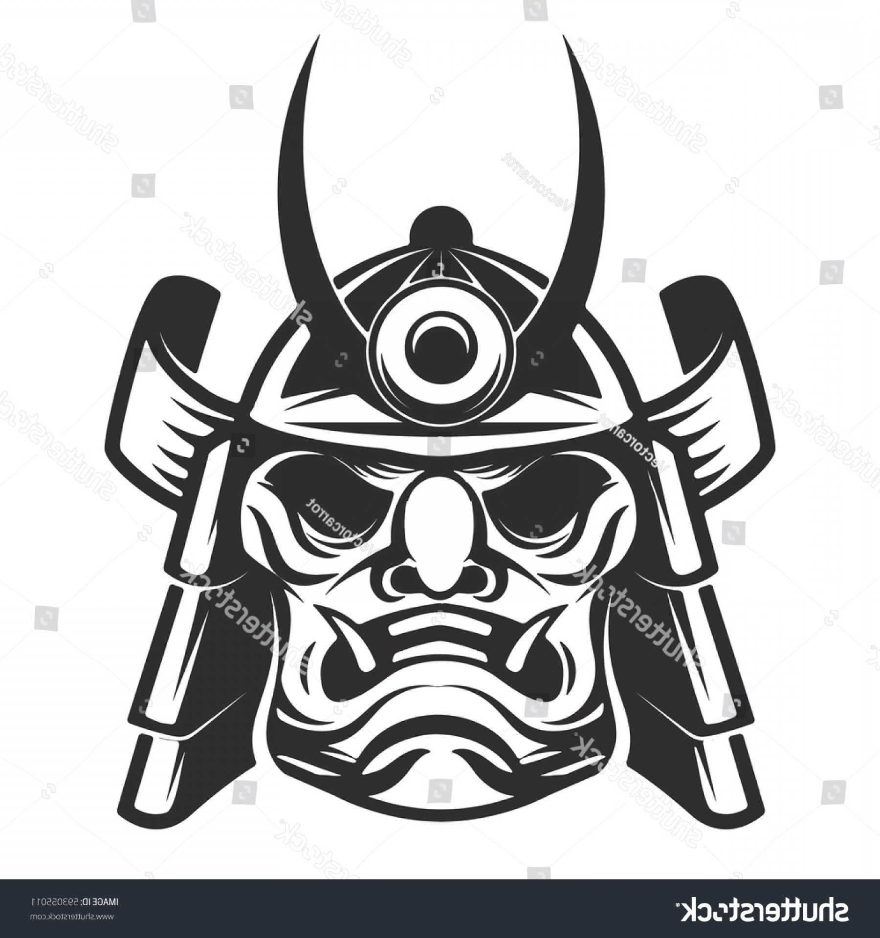 Samurai Warrior Vector: Samurai Warrior Helmet Isolated On White