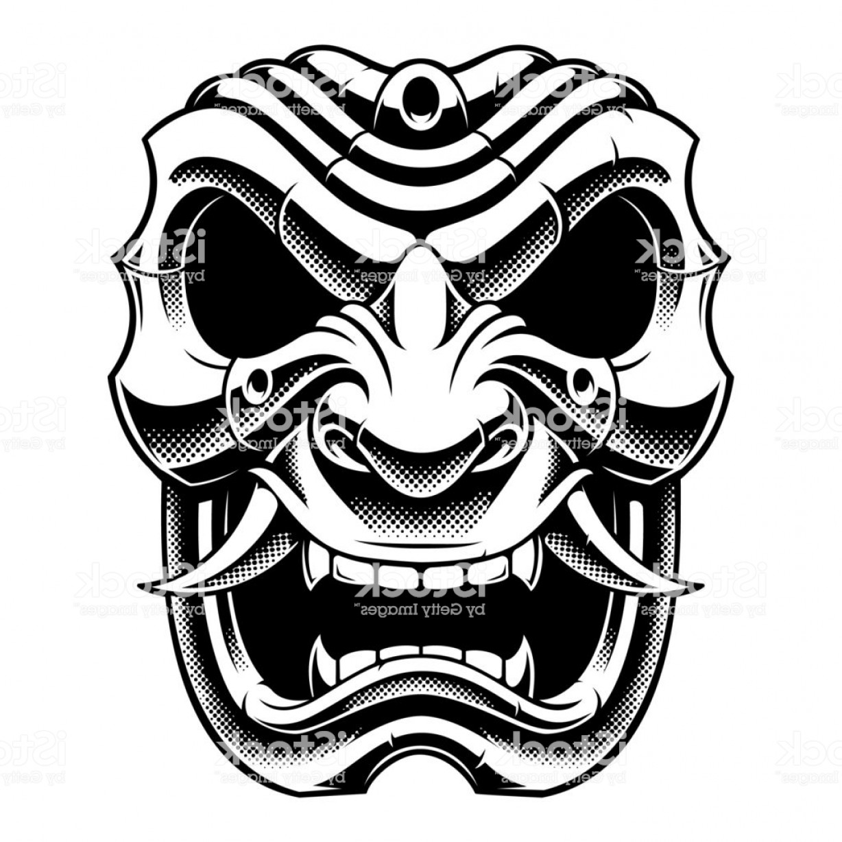 Samurai Warrior Vector: Samurai Warrior Mask Black And White Design Gm