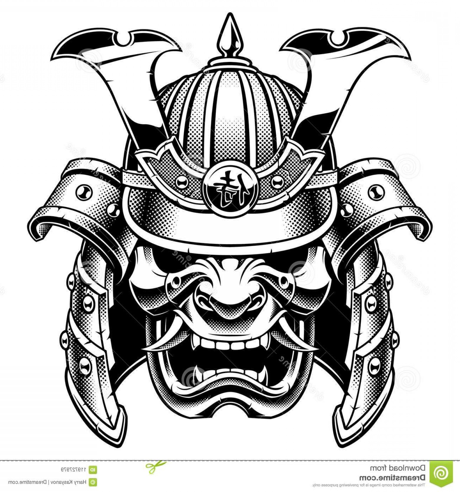 Samurai Warrior Vector: Samurai Warrior Mask Samurai Warrior Mask Traditional Armor Japanese Warrior Vector Illustration Shirt Graphic Isolated Image