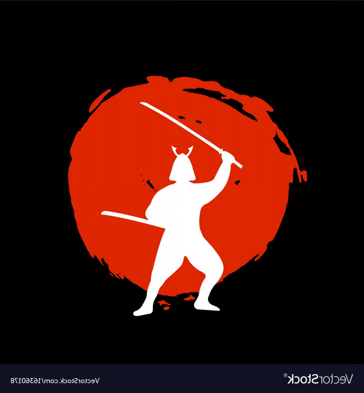 Red Samurai Vector: Samurai Warrior Silhouette On Red Moon And Black Vector