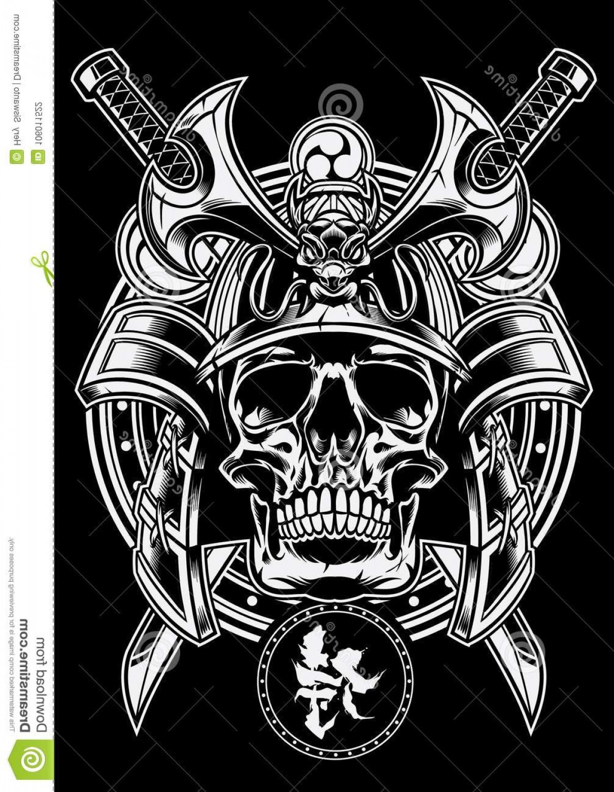 Samurai Warrior Vector: Samurai Warrior Skull Traditional Japanese Sword Katana Vector Image