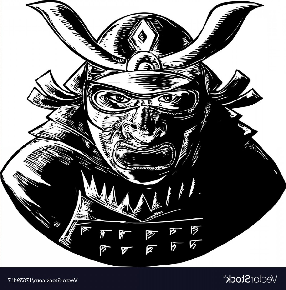 Samurai Warrior Vector: Samurai Warrior Wearing Mempo Woodcut Vector