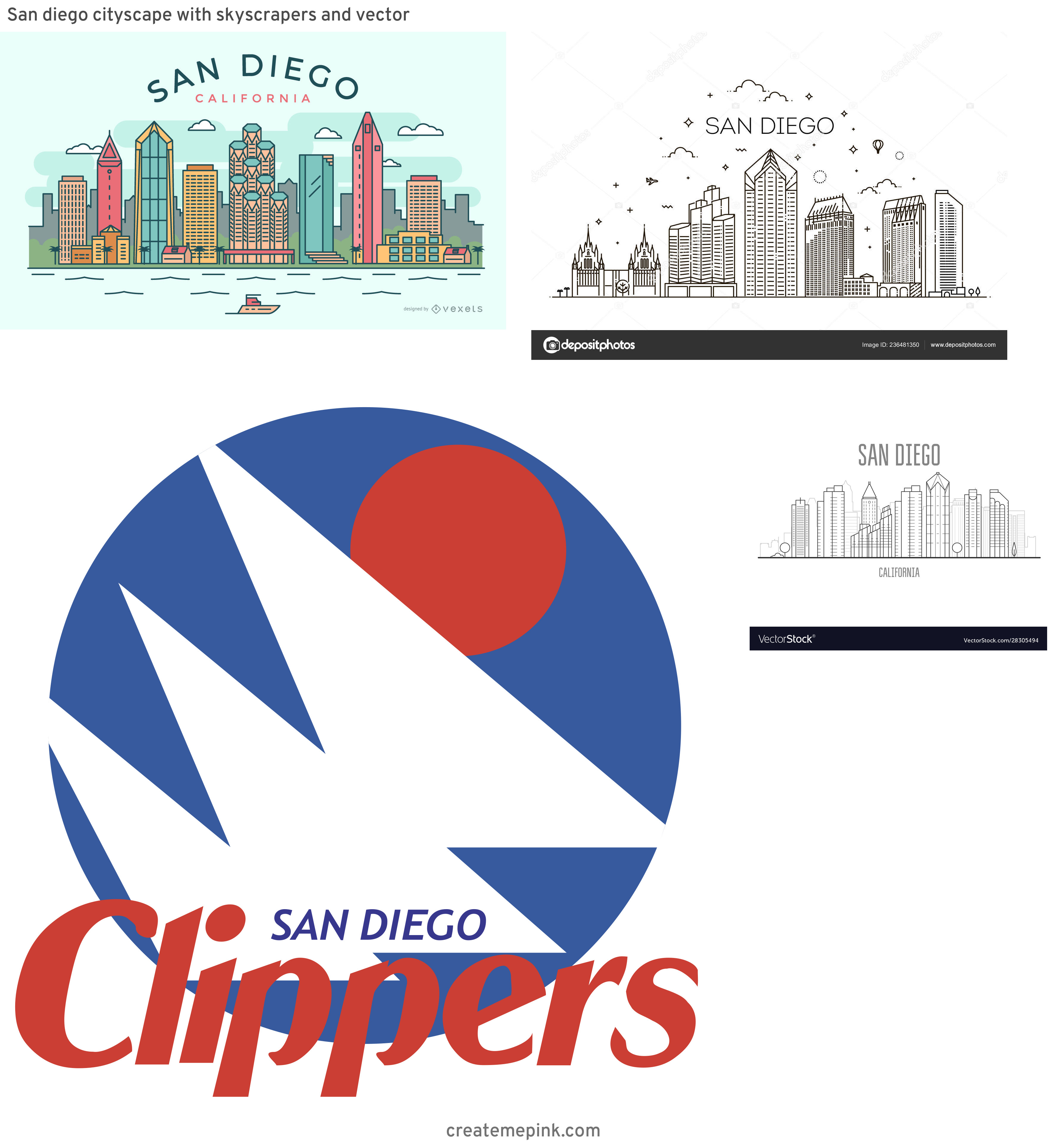 San Diego Vector: San Diego Cityscape With Skyscrapers And Vector