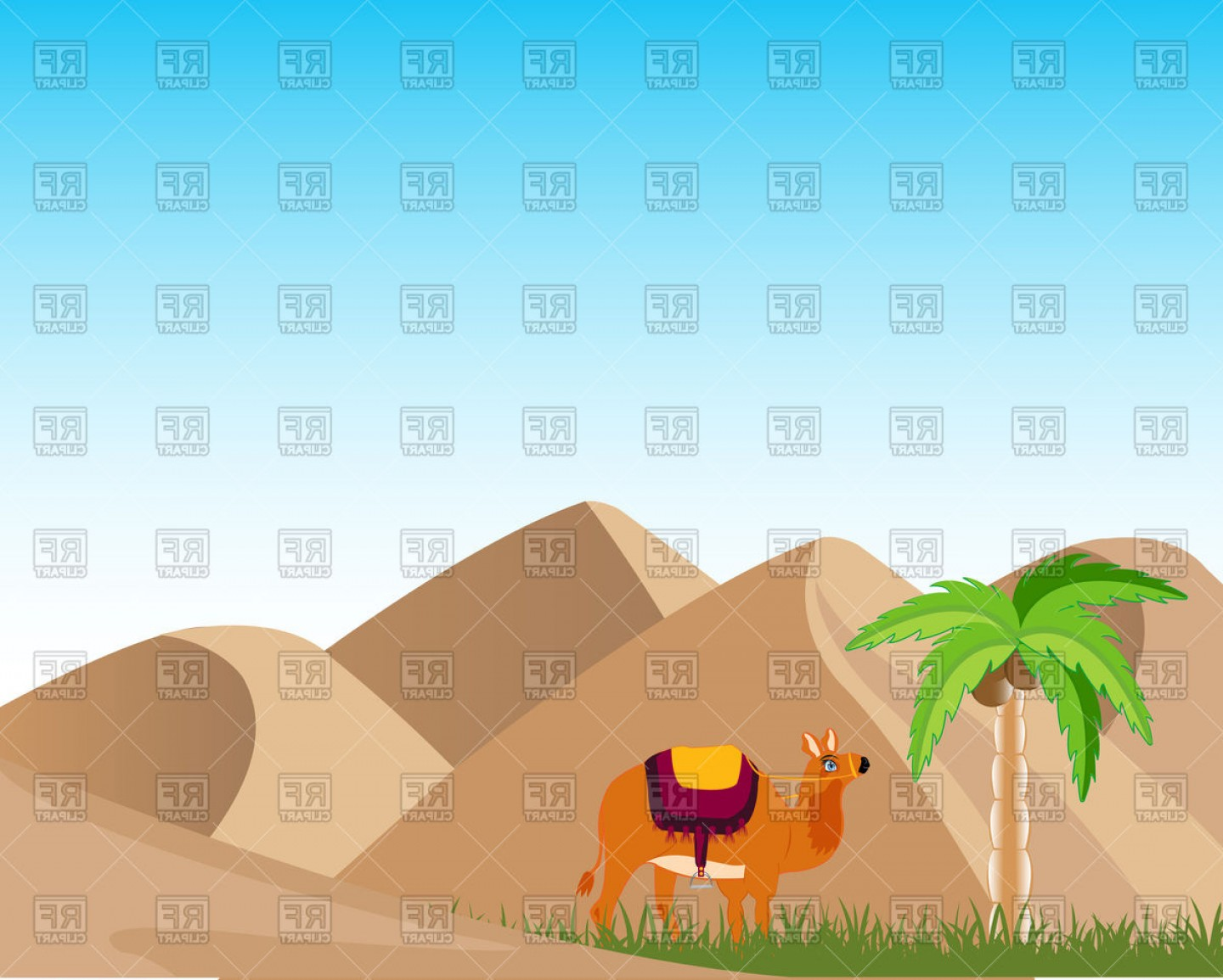 Sand Dune Silhouettes Vectors: Sand Desert And Oasis With Palm And Camel Vector Clipart