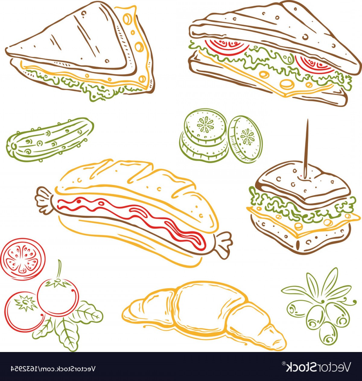 Snack Vector: Sandwiches Fast Food Snack Vector