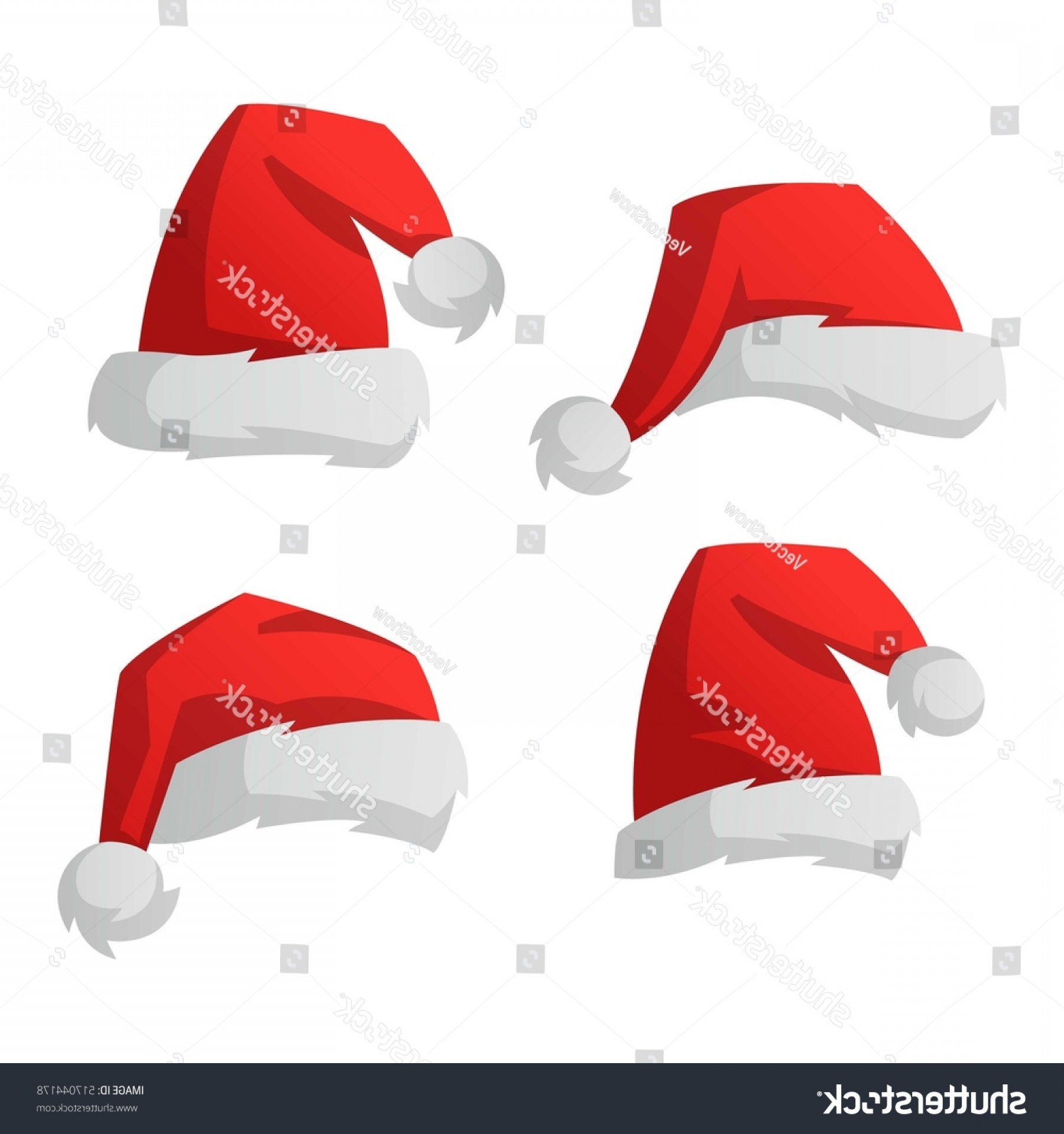 Santa Hat Vector Logo: Santa Christmas Hat Vector Illustration Red