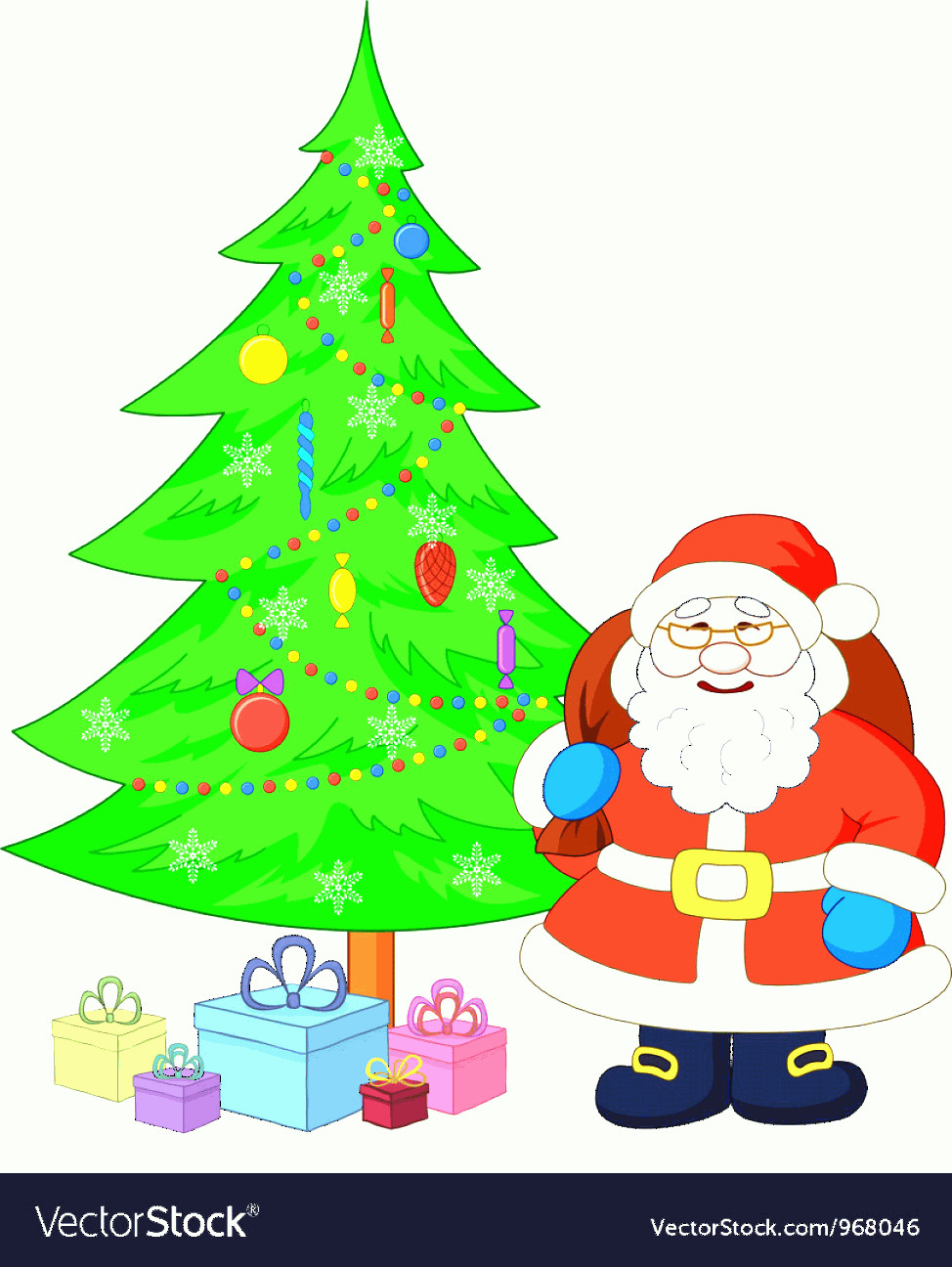 Vector Christmas Toppers: Santa Claus And Christmas Tree