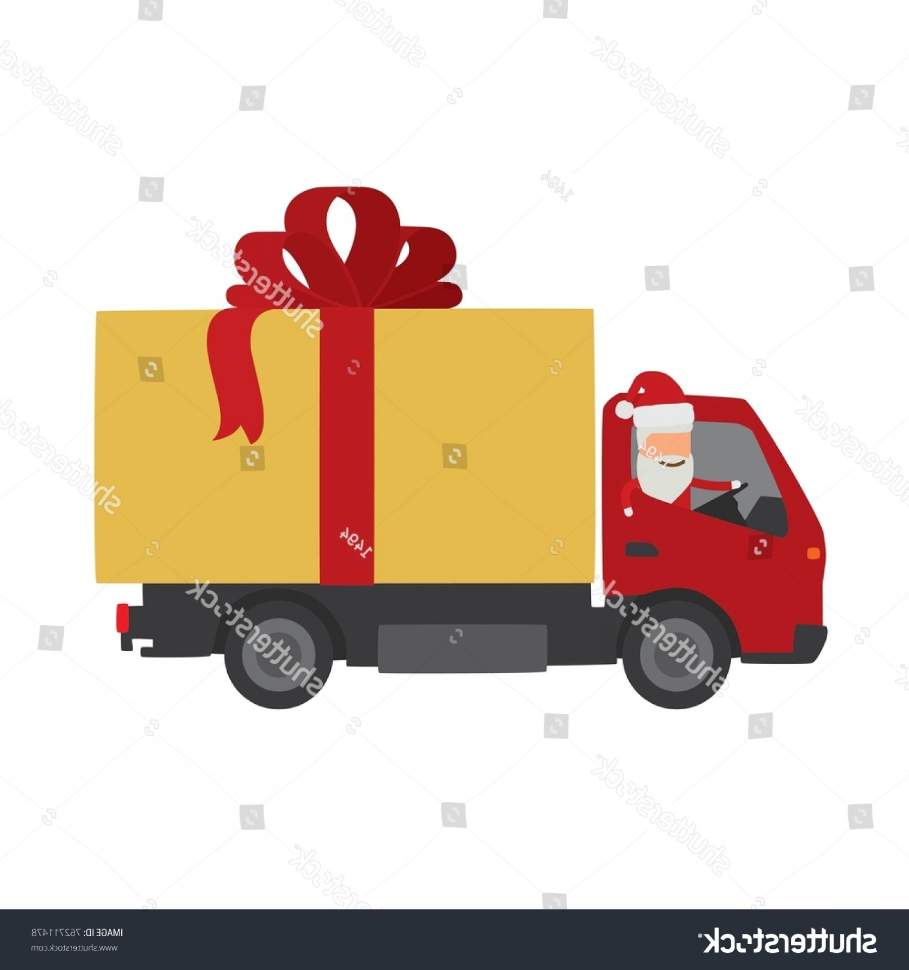 Packages On A Truck Vector: Santa Claus On Truck Vector Illustration