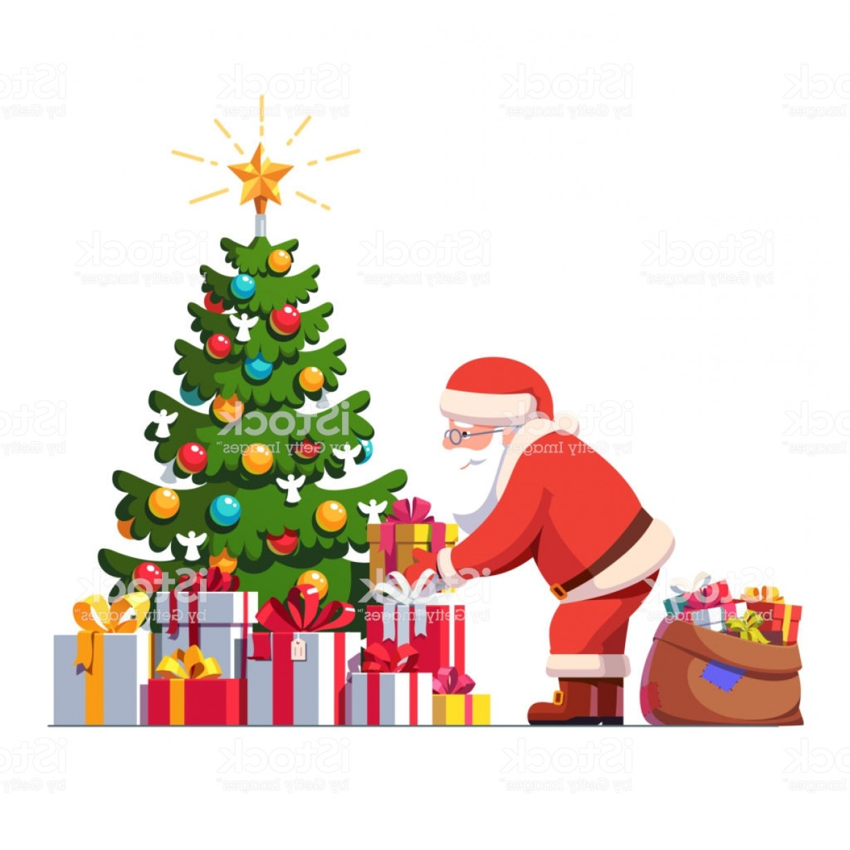 Christmas Tree Art Large Vector Format: Santa Claus Putting Gift Box Under Christmas Tree Decorated With Baubles And Gm