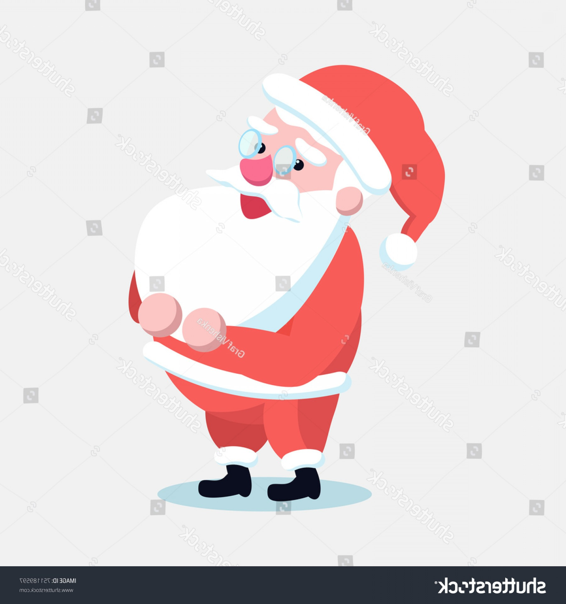 Vector Santa Belt: Santa Claus Standing Straight His Hands