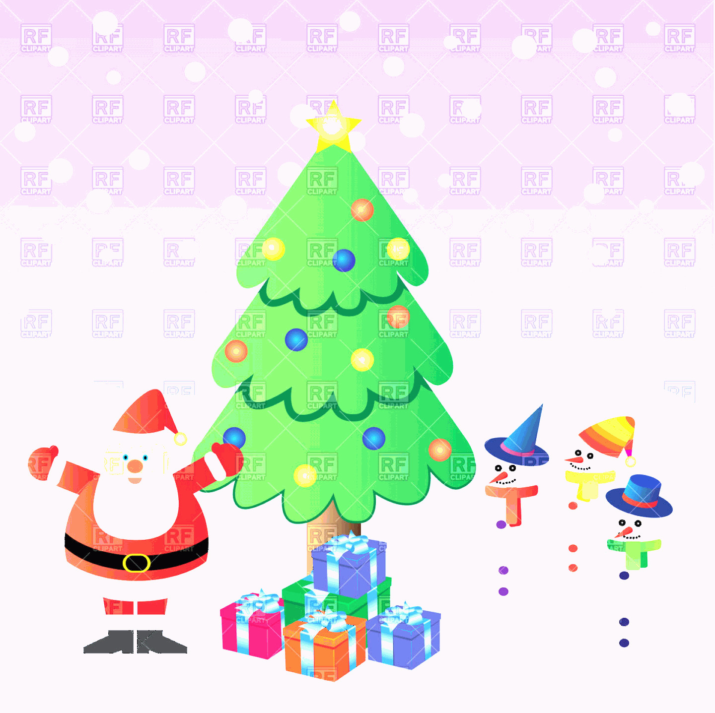 Vector Christmas Toppers: Santa Claus With Presents Near Christmas Tree And Three Snowman Stock Vector Image