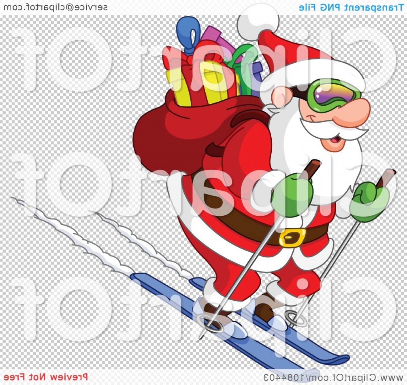 Transparent PNG Vector Skier: Santa Skiing Downhill With His Sack Of Gifts