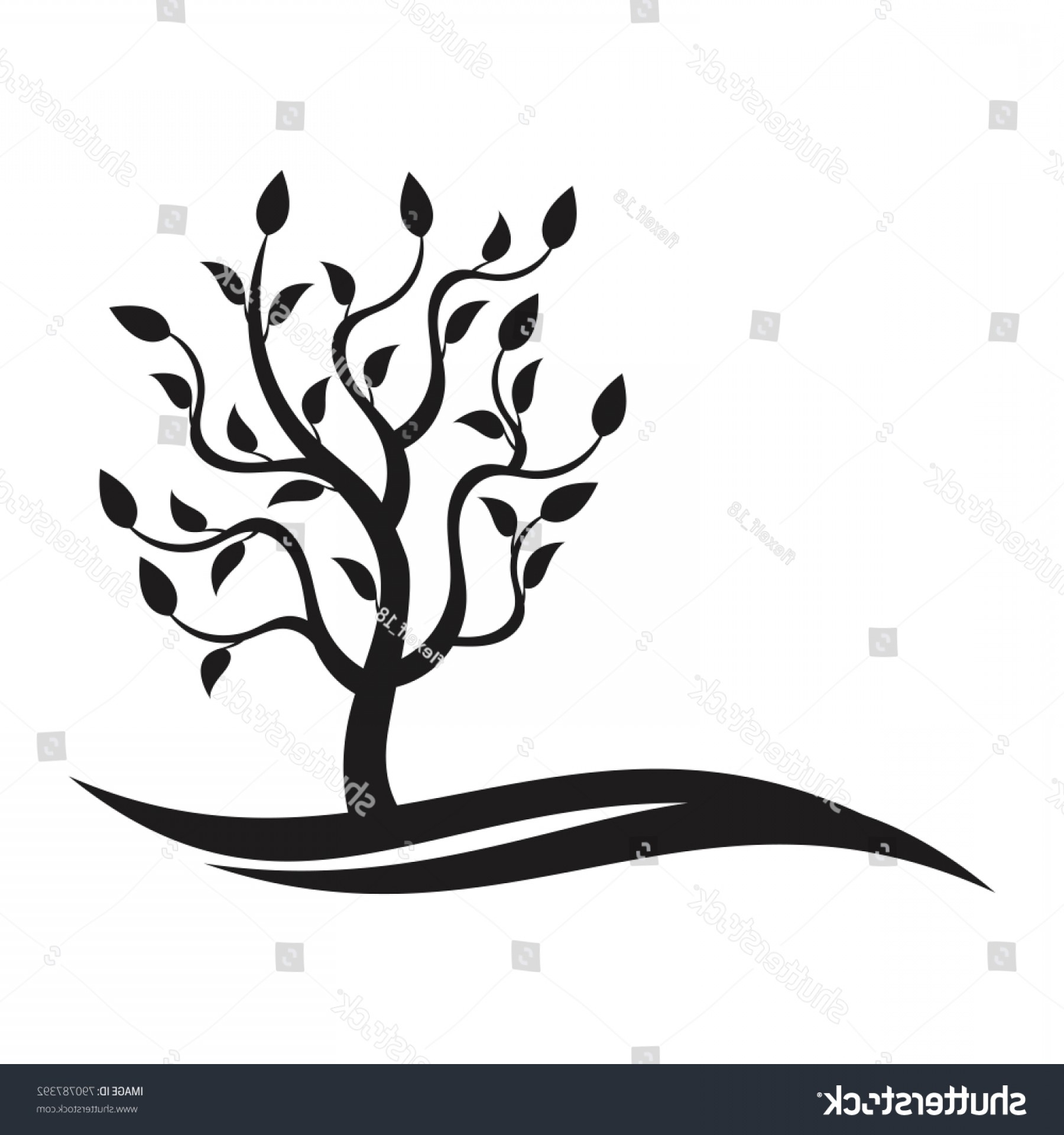 Sapling Vector Tree Silhouette Art: Sapling Nature Concept Ecology Logo Template