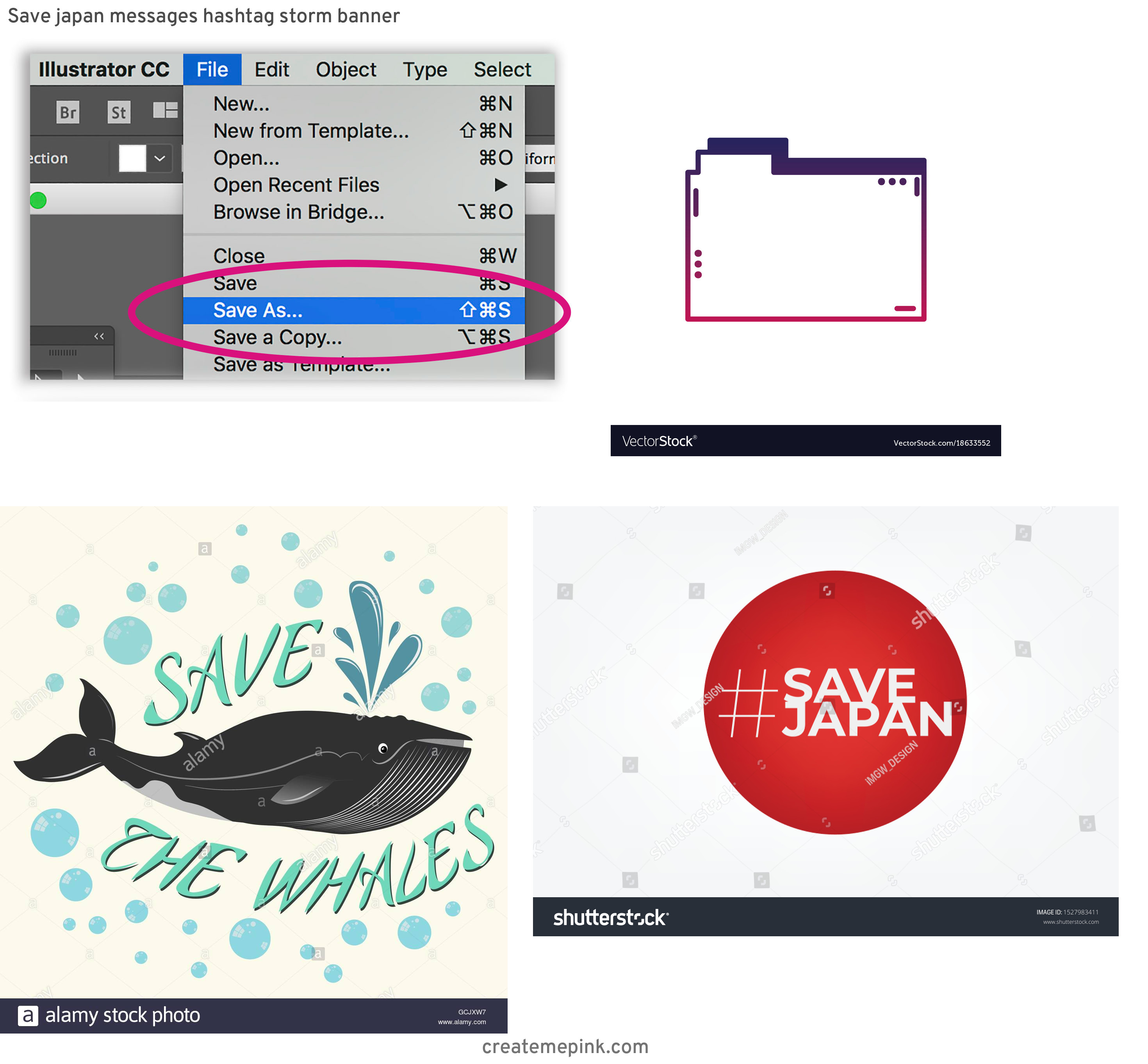 Save As Vector In Illustrator: Save Japan Messages Hashtag Storm Banner
