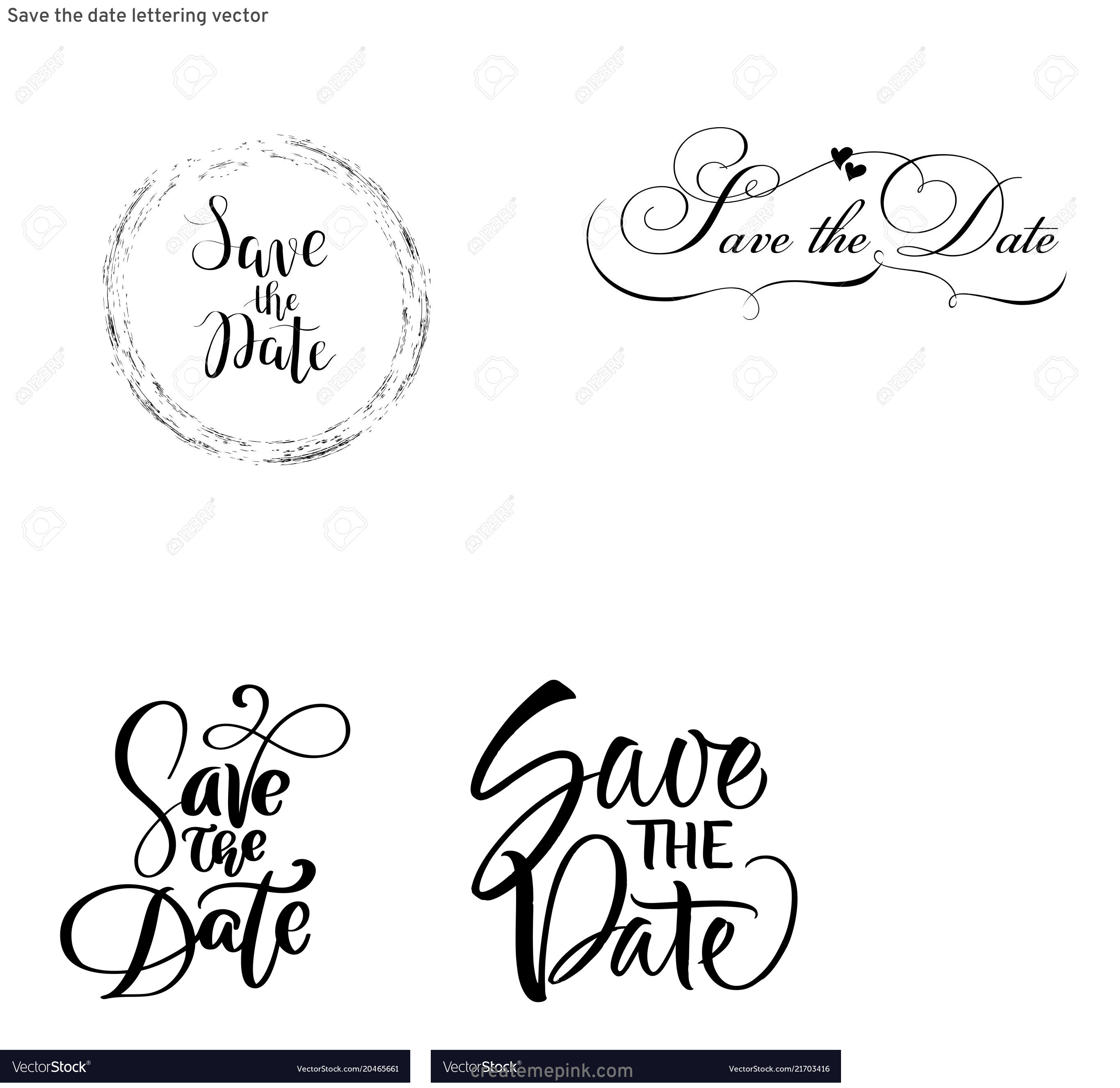 Save The Date Vector: Save The Date Lettering Vector