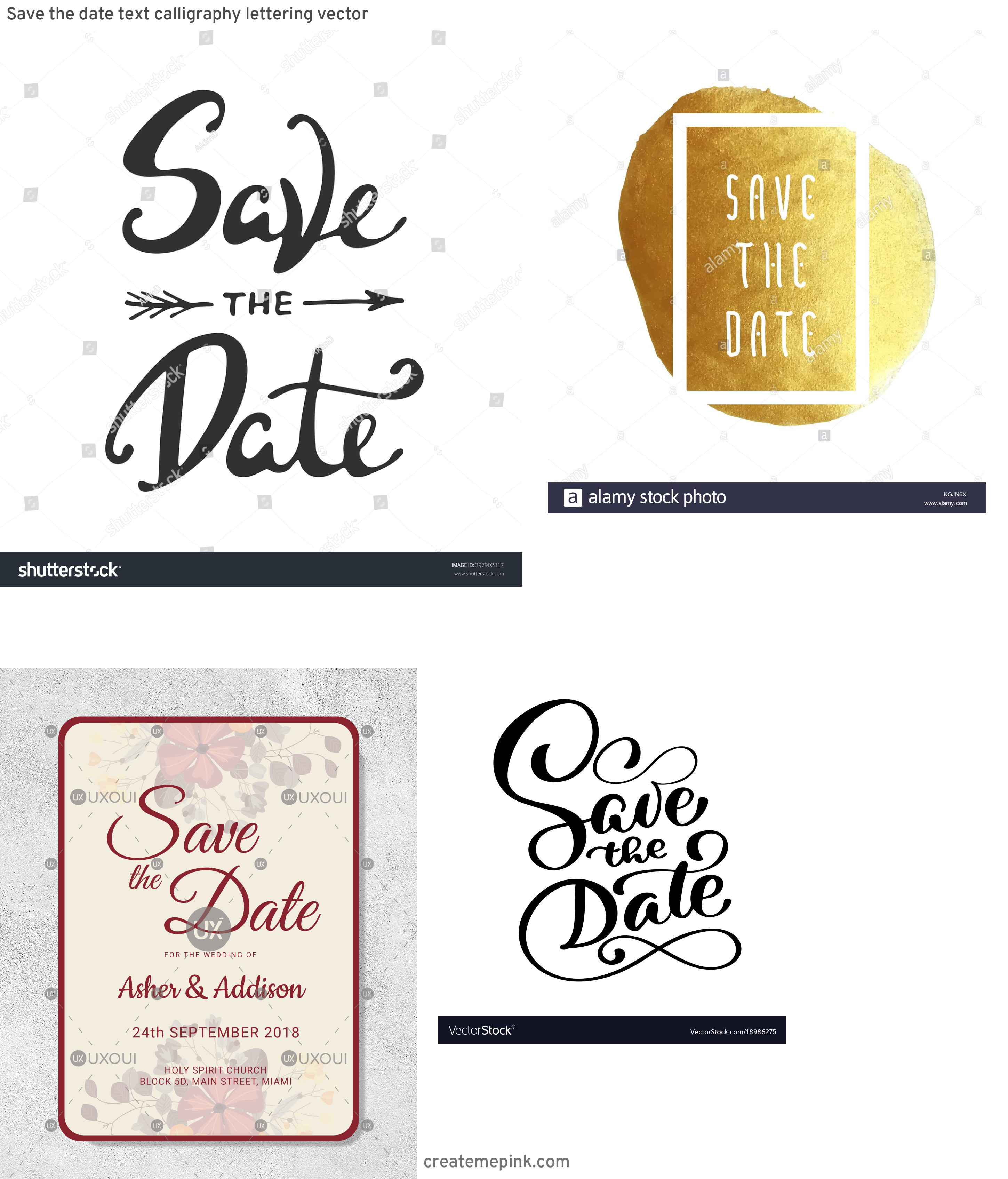 Save The Date Vector: Save The Date Text Calligraphy Lettering Vector