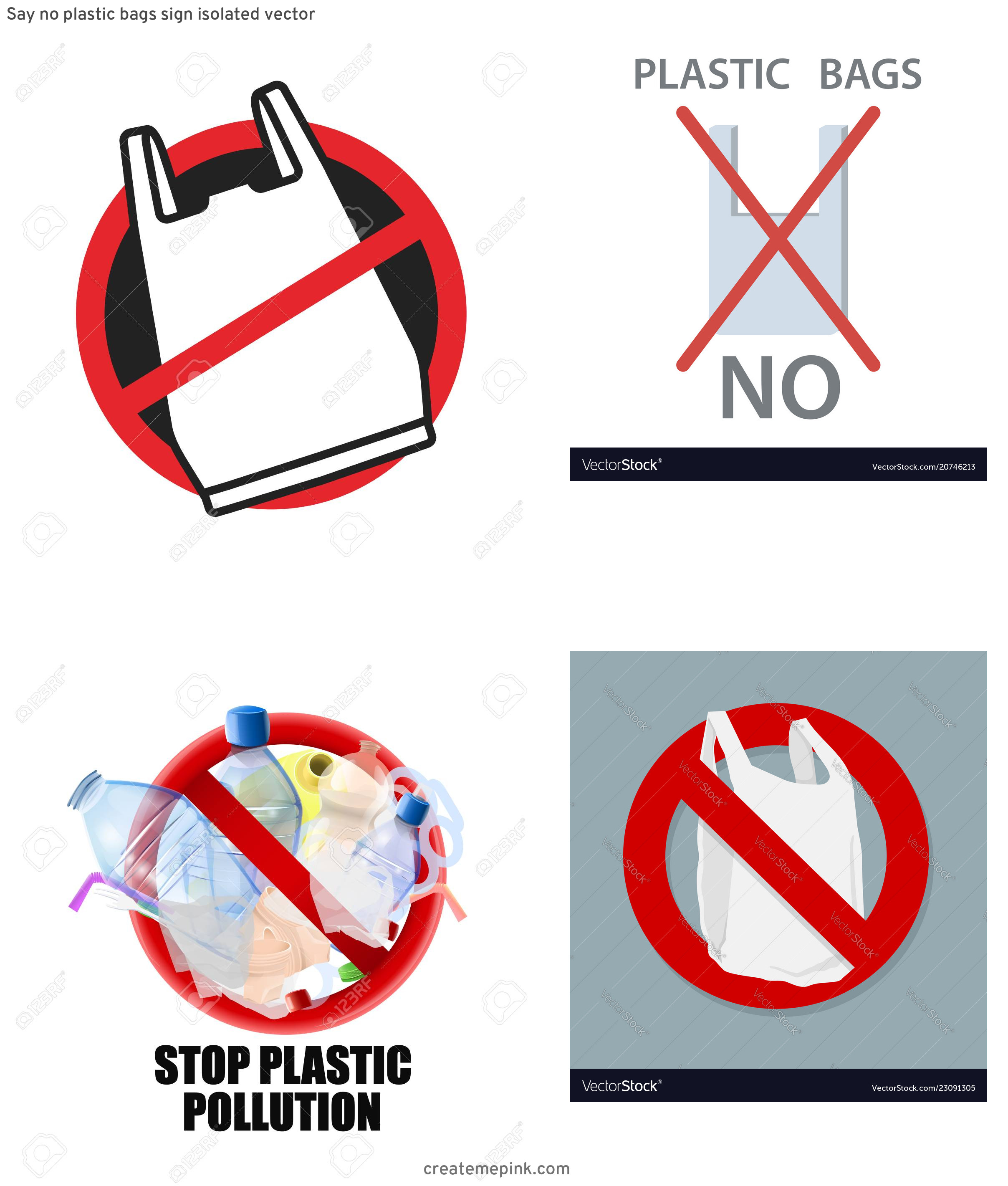 Vector No Plastic: Say No Plastic Bags Sign Isolated Vector