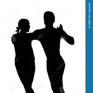Elegant Vector Silhouette Dancing: Salsa Party Vector Poster Elegant Couple Dancing Salsa Retro Style Silhouettes Of Gm