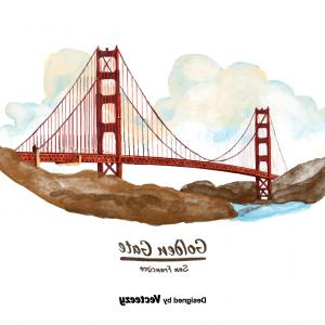 Golden State Logo Vector: San Francisco Golden Gate Bridge Watercolor Vector