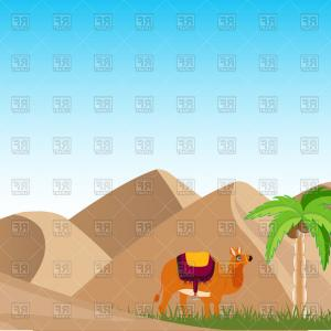 Sand Dune Silhouettes Vectors: Yellow Desert Sand Dunes Landscape Backgroundflat Vector Illustration Image