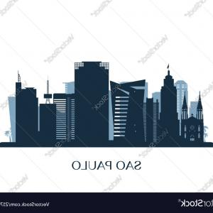 Wicked Boston Skyline Silhouette Vector: Sao Paulo Skyline Monochrome Silhouette Vector